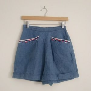 3for$80 Vintage 50s denim cotton high waist shorts